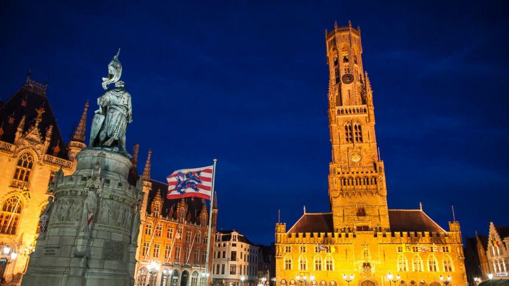 The Belfort of Bruges is illuminated at night in Bruges, Belgium, Sept. 16, 2015.