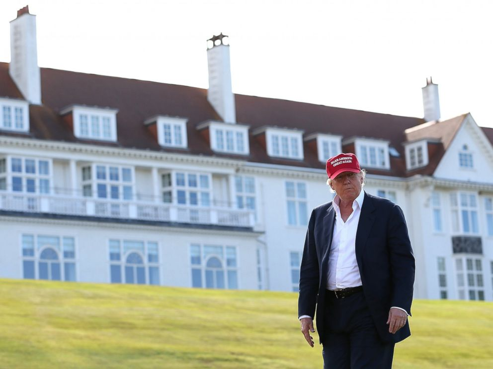 PHOTO: Republican Presidential Candidate Donald Trump visits his Scottish golf course Turnberry on July 30, 2015 in Ayr, Scotland.