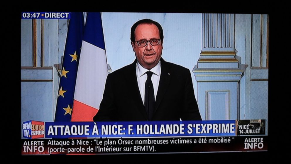 This still image from a BFM TV telecast shows French President Francois Hollande speaking about the attack in Nice on July 14, 2016 in Elysee, Paris.