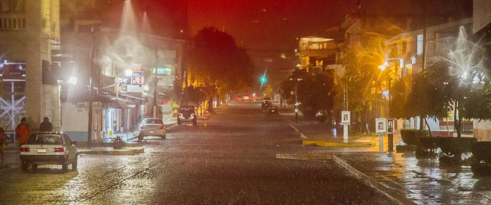 PHOTO: View of the street during the arrival of hurricane Patricia in Puerto Vallarta, Mexico on October 23 ,2015.