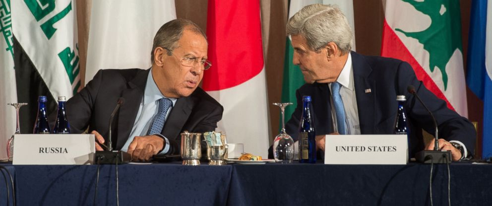 PHOTO: Russian Foreign Minister Sergei Lavrov and United States Secretary of State John Kerry speak during the International Syria Support Group meeting, Sept. 22, 2016 in New York.
