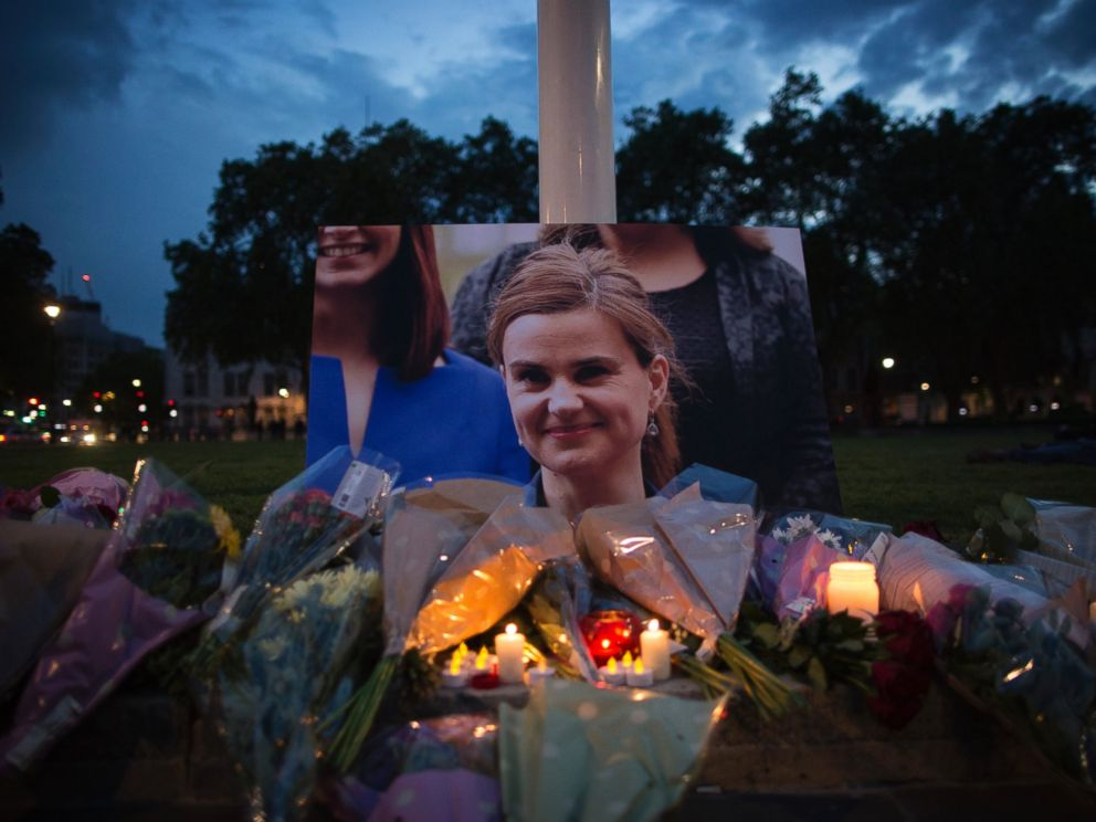 PHOTO: Flowers surround a picture of Jo Cox during a vigil in Parliament Square on June 16, 2016 in London, United Kingdom. Photo by Dan Kitwood/Getty Images
