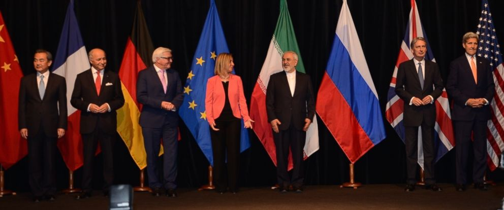 PHOTO: US Secretary of State John Kerry, far right, was joined on stage by Representatives of the various countries that had a hand in reaching the Iran Nuclear deal in Vienna, Austria on July 14, 2015.