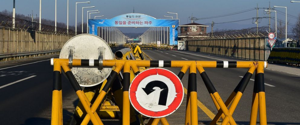 PHOTO: A barricade is set on the road leading to North Koreas Kaesong joint industrial complex at a South Korean military checkpoint in the border city of Paju near the Demilitarized zone dividing the two Koreas on Jan. 8, 2016.