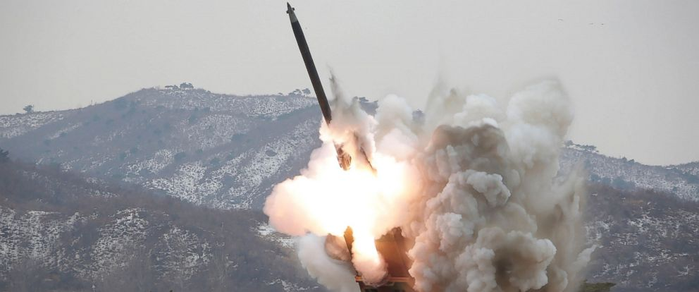 PHOTO: This undated picture released from North Koreas official Korean Central News Agency, March 4, 2016, shows a test-fire of the new large-caliber rocket at an undisclosed location.