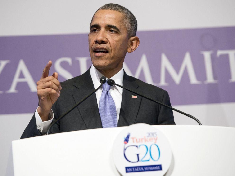 PHOTO: US President Barack Obama holds a press conference following the G20 summit in Antalya, Turkey on Nov. 16, 2015.
