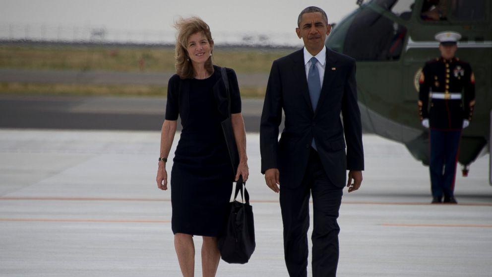 US Ambassador to Japan Caroline Kennedy and President Barack Obama walk following the end of the G7 Summit, at Chuba Centrair International Airport in Tokoname, near Nagoya, May 27, 2016.