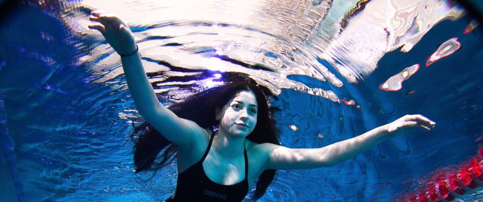 PHOTO: Yusra Mardini of Syria during a training session at the Wasserfreunde Spandau 04 training pool Olympiapark Berlin on March 9, 2016 in Berlin, Germany.