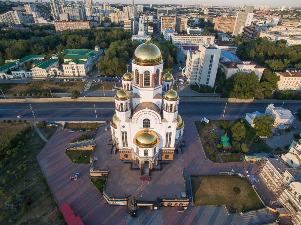 PHOTO: The aerial photo taken on July 11, 2016, shows the Church of All Saints in Yekaterinburg, Russia.