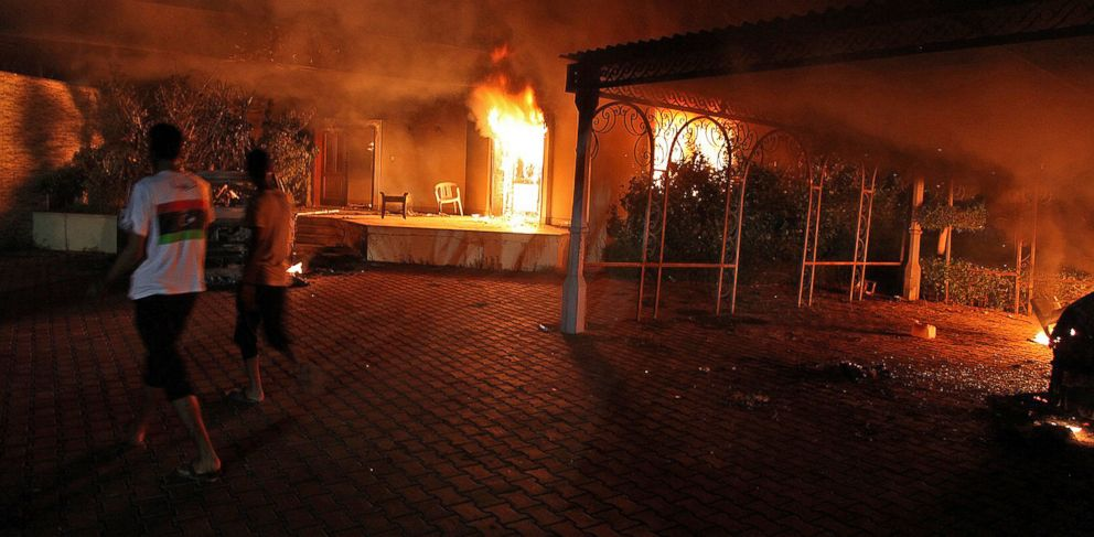 PHOTO: Fires burn inside the US consulate compound in Benghazi