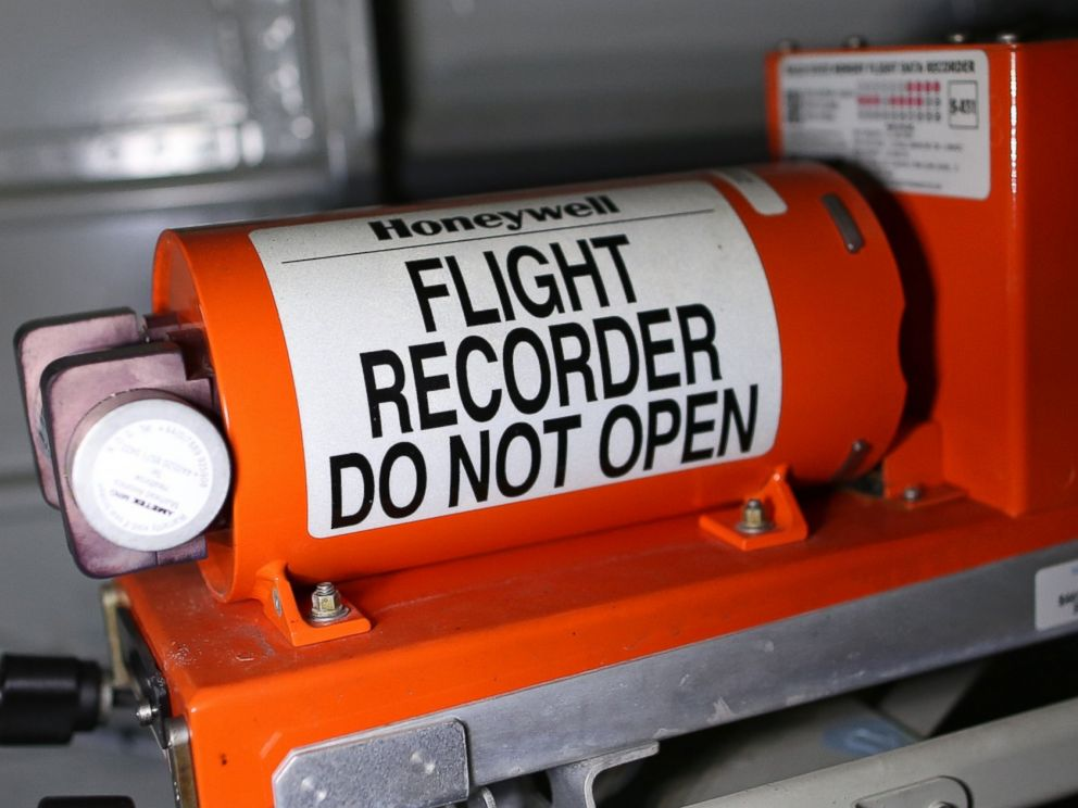 PHOTO: Black boxes, like the one pictured above from a different plane, are painted bright orange but remain difficult for someone to find amid aircraft wreckage unless they have specialty training. <p itemprop=