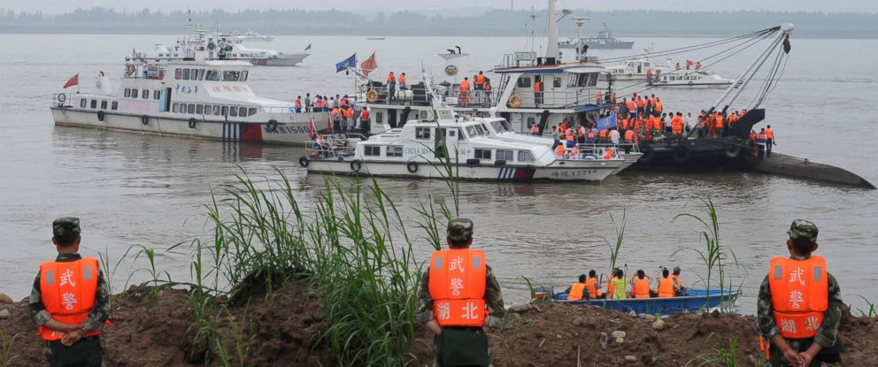 "PHOTO: Rescue teams search for survivors near the Dongfangzhixing or ""Eastern Star"" vessel, which sank in the Yangtze River in Jianli, central Chinas Hubei province, on June 2, 2015."
