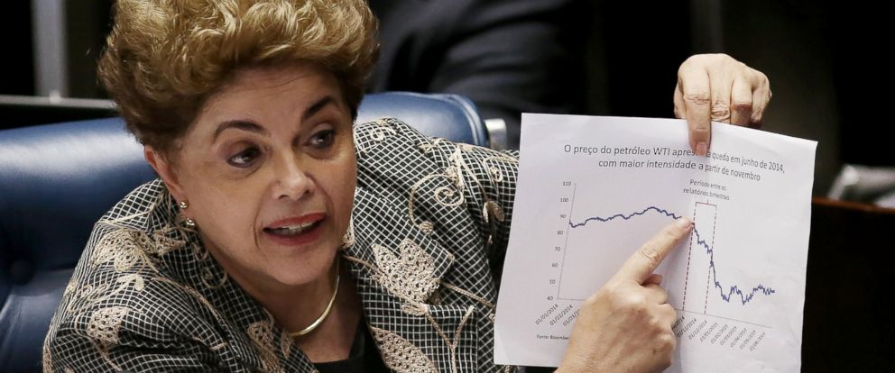 PHOTO: Suspended President Dilma Rousseff points to an economic chart displaying oil prices while answering a question from a Senator on the Senate floor during her impeachment trial, Aug. 29, 2016, in Brasilia, Brasil.