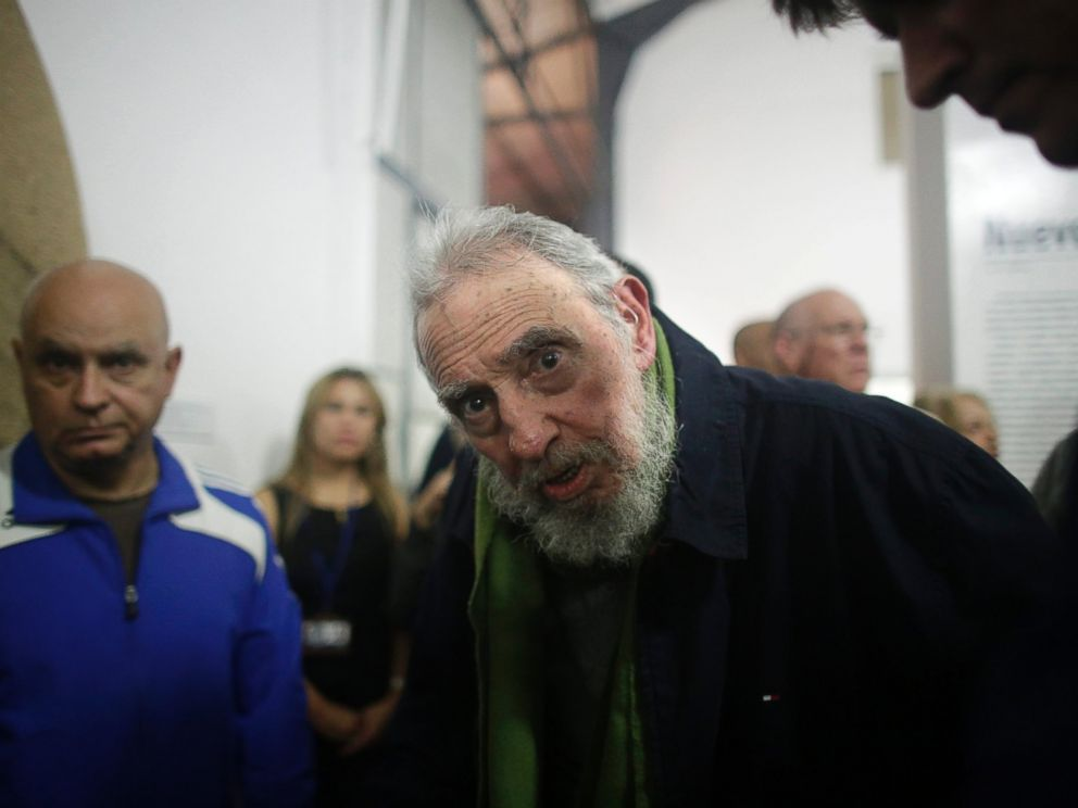 PHOTO: Fidel Castro, Cubas former President and revolutionary leader, looks at the camera during a rare public appearance to attend the inauguration of an art gallery on Jan. 8, 2014 in Havana, Cuba.