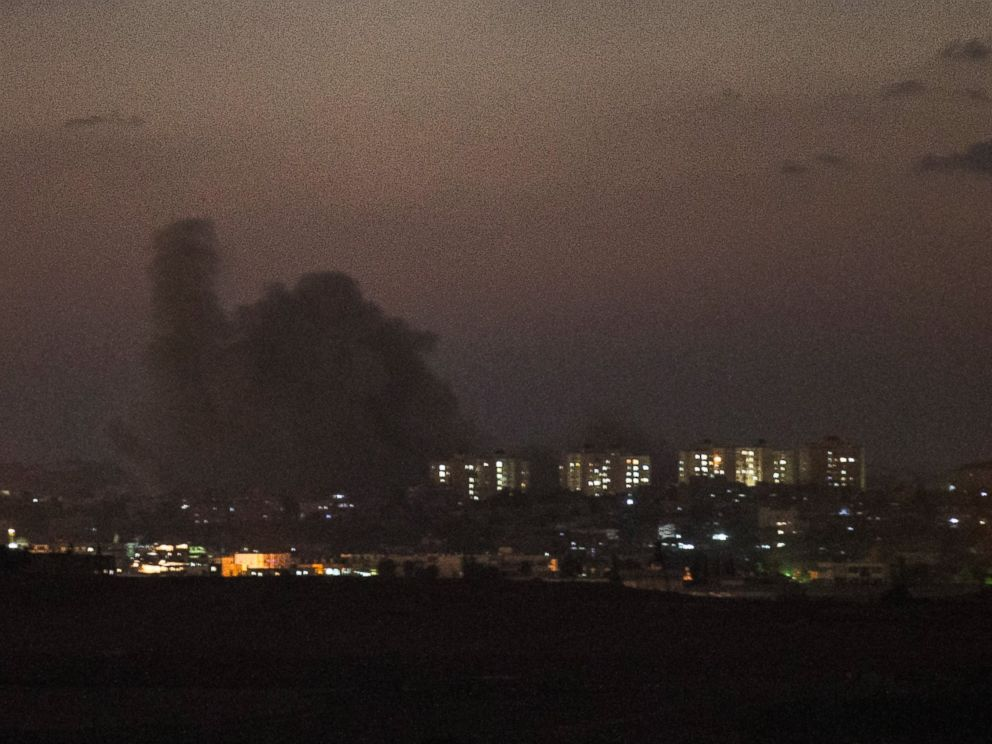 PHOTO: Smoke rises from inside Gaza from Israeli attacks on the sixth day of Israels operation Protective Edge on July 13, 2014, as seen from Sderot, Israel.
