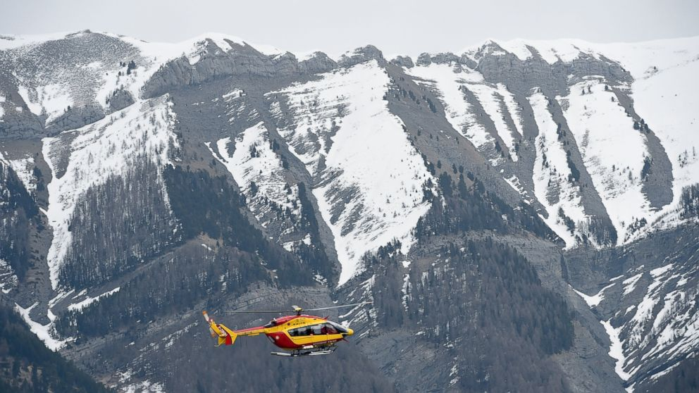 A helicopter of the French civil security services flies near Seyne, south-eastern France, March 24, 2015.