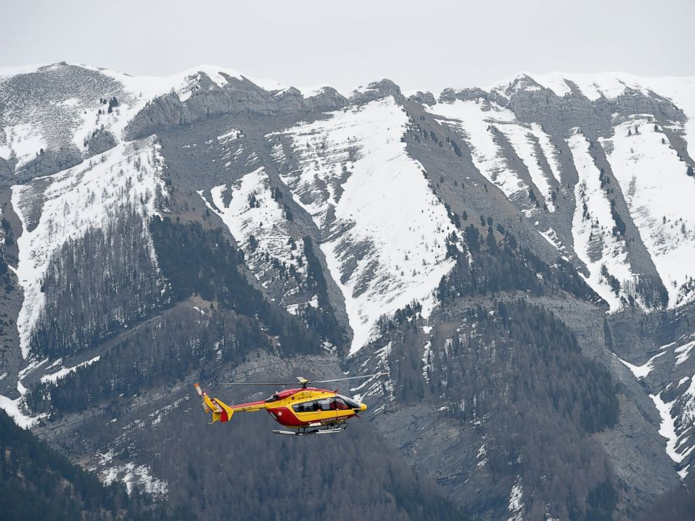 PHOTO: A helicopter of the French civil security services flies near Seyne, south-eastern France, March 24, 2015.