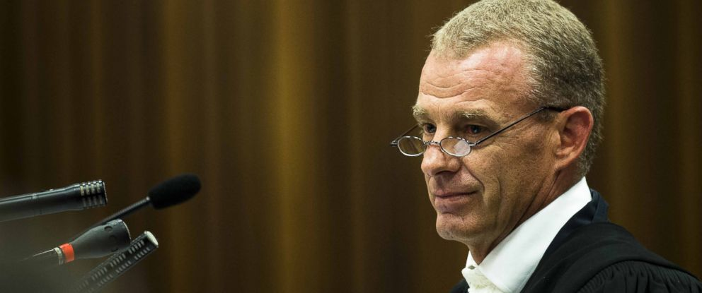 PHOTO: State prosecutor Gerrie Nel is seen on the fifth day of the trial of South African paralympic athlete for the 2013 murder of his girlfriend.
