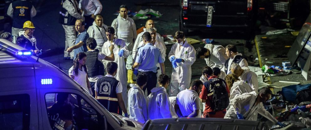 PHOTO: Forensic police work the explosion site at Ataturk airport, June 28, 2016, in Istanbul after two explosions followed by gunfire hit Turkeys biggest airport, killing at least 28 people and injured 20.