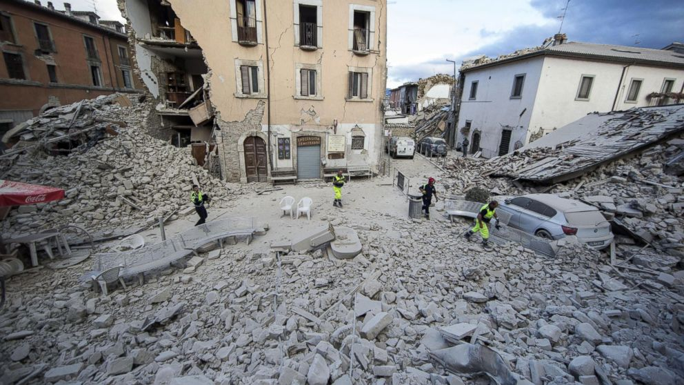 The side of a building is collapsed following an earthquake, in Amatrice, Italy, Aug. 24, 2016.