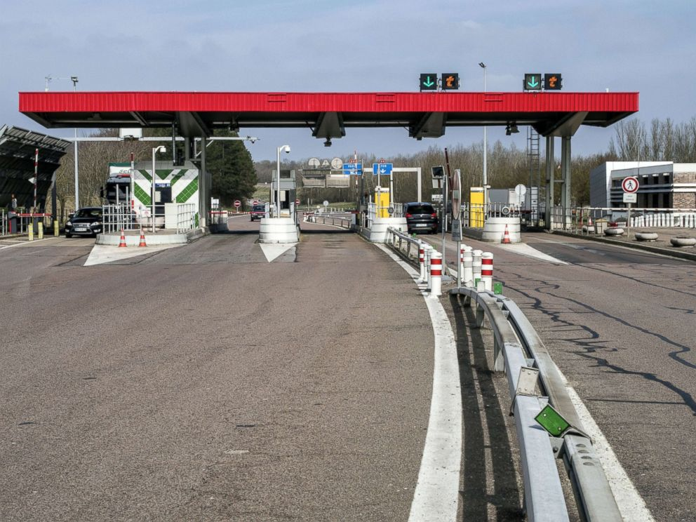 PHOTO: A view of the A6 toll is seen on March 11, 2015 in Avallon, France.