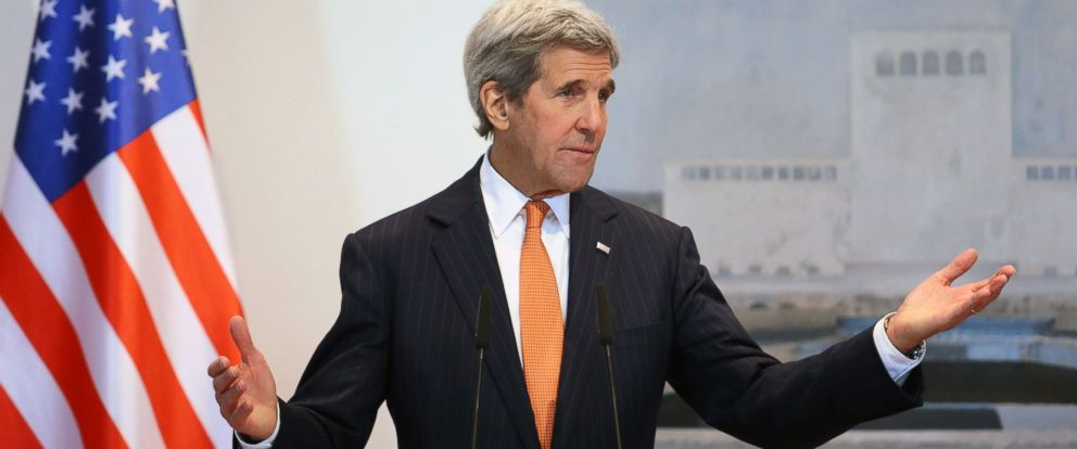 PHOTO: US Secretary of State John Kerry holds a press conference in Tirana on Feb. 14, 2016.