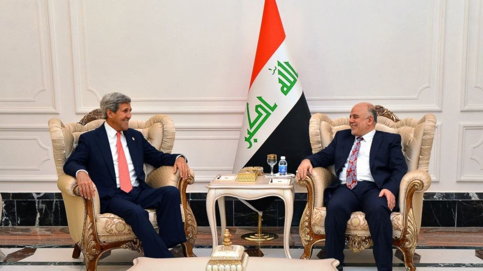 Secretary of State John Kerry meets with Haider al-Abadi, Prime Minister of Iraq, in Baghdad, Sept. 10, 2014.
