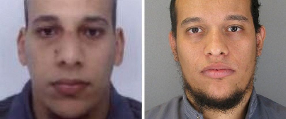 PHOTO: French authorities say two brothers, Cherif Kouachi and Said Kouachi are two of the three men allegedly involved in a terrorist attack on the offices of Charlie Hebdo in Paris on Jan. 7, 2015.