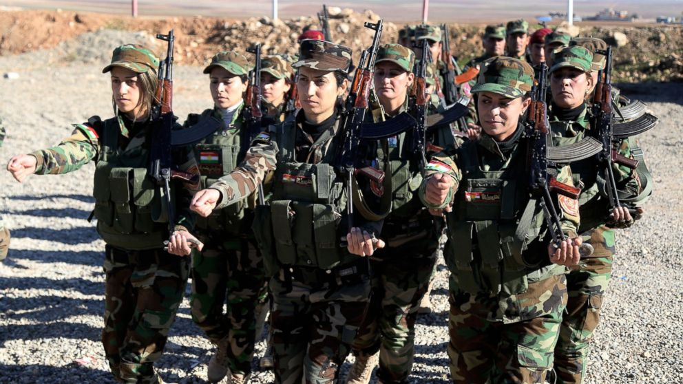 Female Syrian Peshmerga fighters are being trained to fight against Daesh and Assad forces at a camp located in Old Mosul region of the city of Nineveh, Iraq,  Dec. 9, 2015.