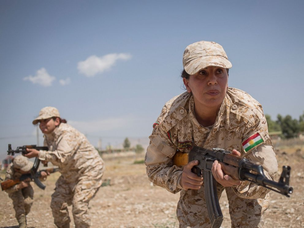 The 2nd Battalion of Female Peshmergas during their military exercises at Sulaymaniyah, Aug. 27, 2014.