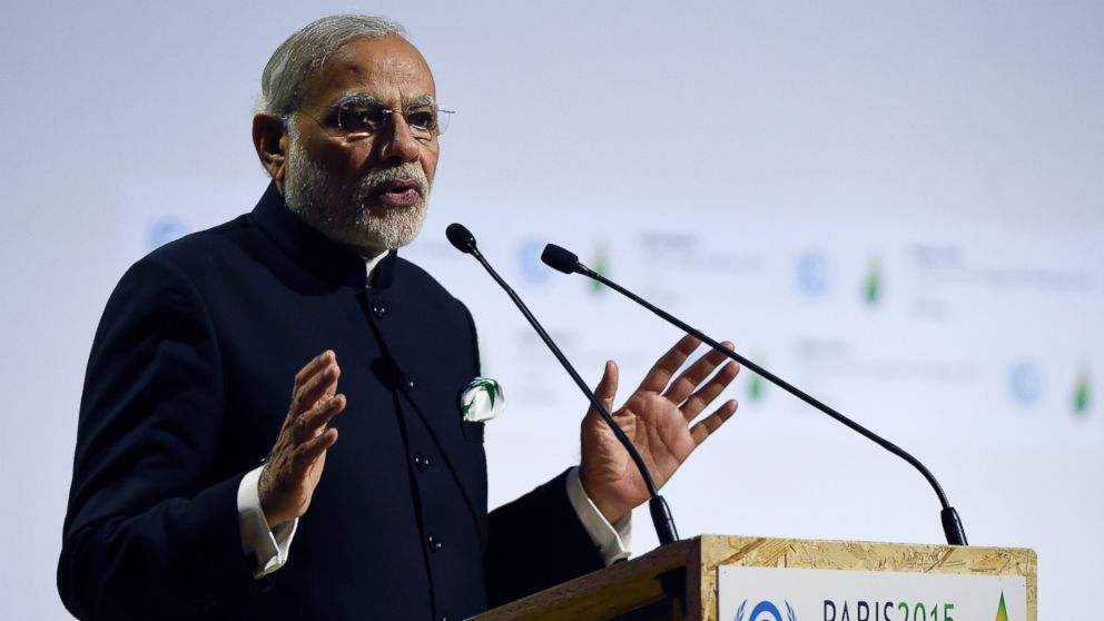 Indian Prime Minister Narendra Modi delivers a speech during the opening day of the World Climate Change Conference 2015 (COP21), on Nov. 30, 2015, at Le Bourget, on the outskirts of the French capital Paris.