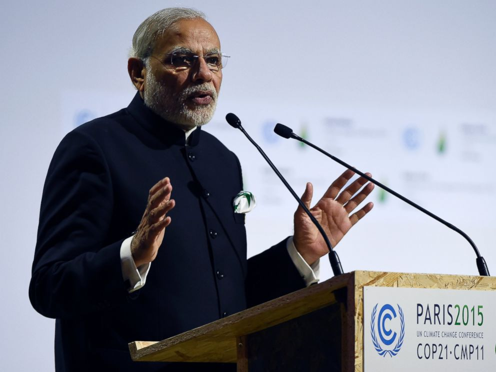 PHOTO: Indian Prime Minister Narendra Modi delivers a speech during the opening day of the World Climate Change Conference 2015 (COP21), on Nov. 30, 2015, at Le Bourget, on the outskirts of the French capital Paris.