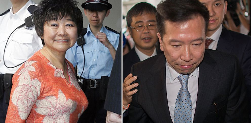 PHOTO: A former lover and Fengshui master of Hong Kong billionaire Nina Wang, Peter Chan, left, was sentenced to jail for 12 years in prison for forging her will, Hong Kong, July 7, 2013.