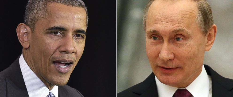 PHOTO: (L-R) President Barack Obama in Chicago, April 7, 2016. | President Vladimir Putin in Moscow, March 25, 2016.