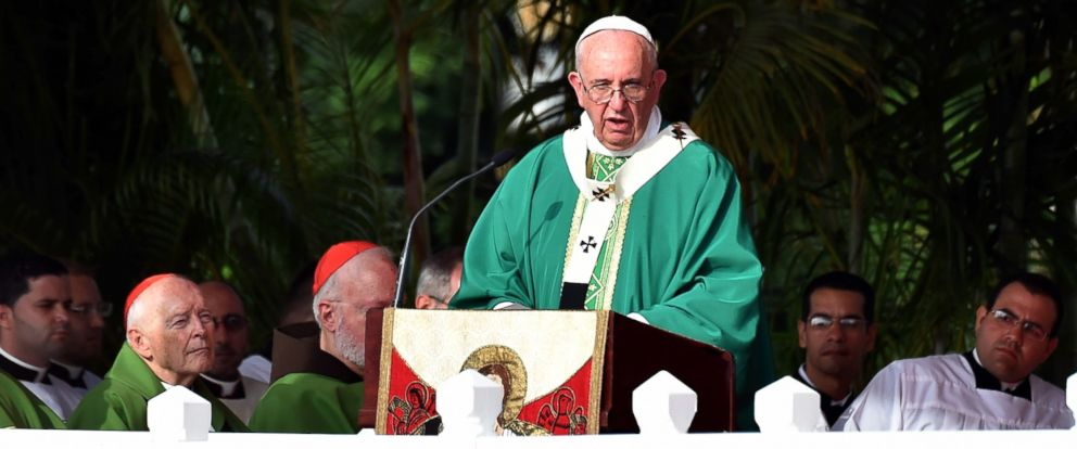 PHOTO: Pope Francis gives mass at Revolution Square in Havana, Cuba, Sept. 20, 2015.