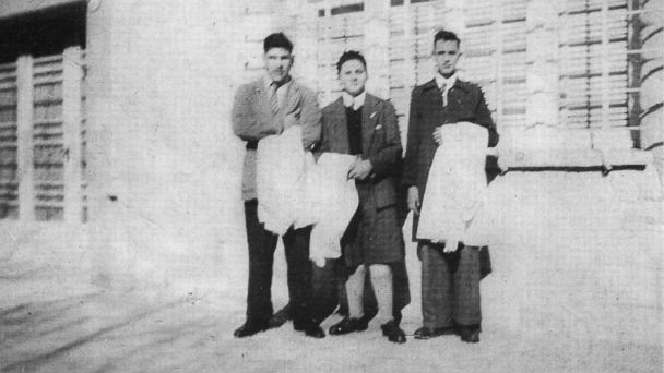PHOTO: This early 1950s picture released by journalist Sergio Rubin, shows Jorge Mario Bergoglio, right, posing with unidentified schoolmates of a preparatory school in Buenos Aires, Argentina.