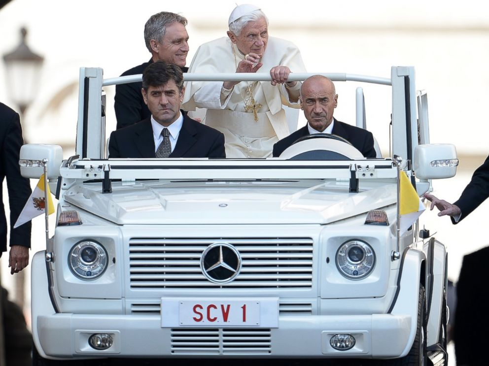 PHOTO: Pope Benedict XVI arrives in his Popemobile for his weekly general audience on Oct. 3, 2012 at St Peters Square at The Vatican.