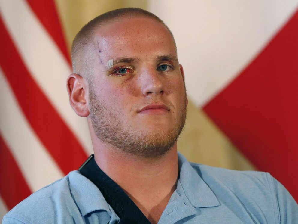 PHOTO: Off-duty U.S. serviceman Spencer Stone poses after a press conference at the U.S. embassy in Paris on Aug. 23, 2015, two days after 25-year-old Moroccan Ayoub El-Khazzani opened fire on a Thalys train traveling from Amsterdam to Paris.