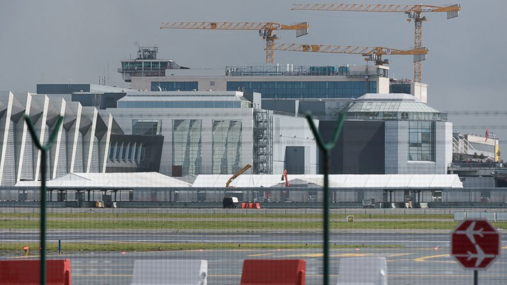 A picture taken on March 29, 2016 shows tents at Zaventem Airport in Brussels, where authorities are running a series of tests to see if makeshift check-in facilities are good enough to restart some flights and that repair work and new security measures are adequate after the deadly March 22 attacks.