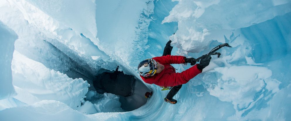 PHOTO: Will Gadd, a professional climber, is using his skill to help scientists learn more about climate change.