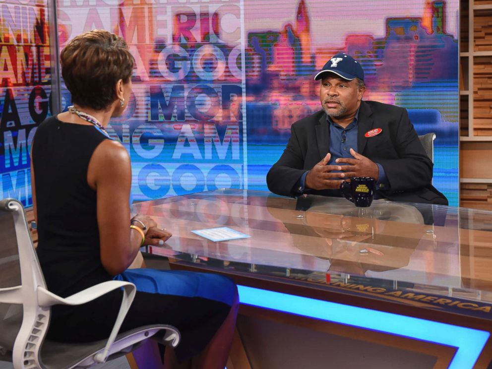 PHOTO: This image released by ABC shows co-host Robin Roberts, left, with The Cosby Show actor Geoffrey Owens during an interview on Good Morning America, Tuesday, Sept. 4, 2018, in New York.