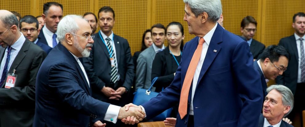PHOTO: Foreign Minister of Iran, Mohammad Javad Zarif shakes hands with US Secretary of State John Kerry at the last working session of nuclear negotiations on July 14, 2015 in Vienna, Austria.
