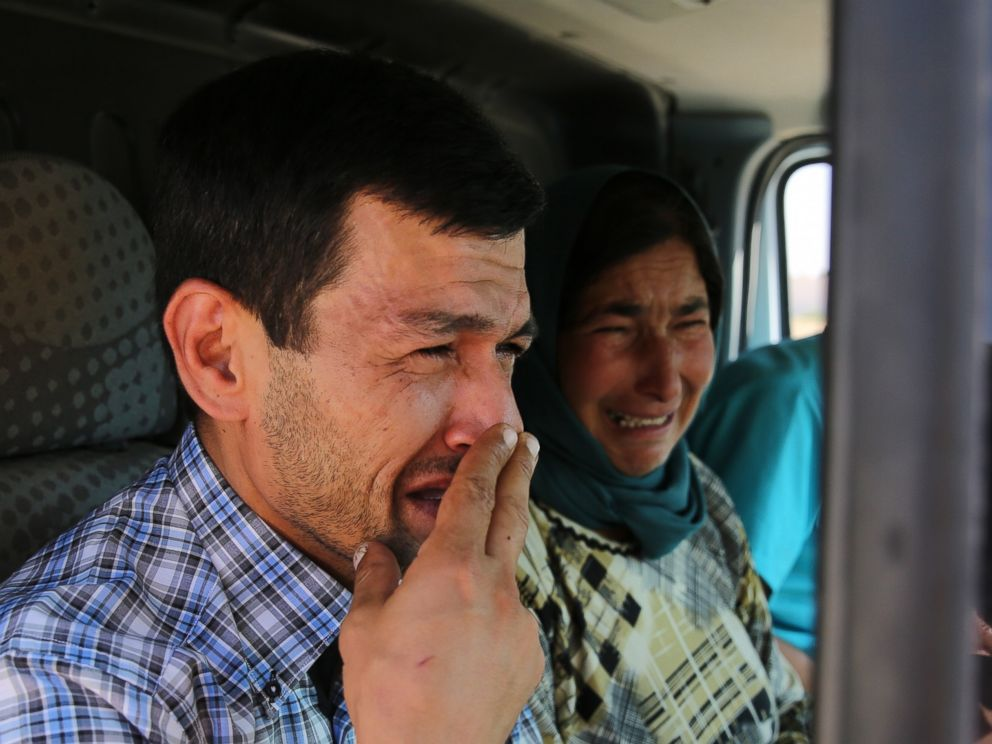 PHOTO: Abdullah Kurdi, father of Syrian children Aylan and Galip and husband of Rehan Kurdi, 27, cries on his way to the Syrian border town of Kobani to hold funeral of his family, Sept. 4, 2015.