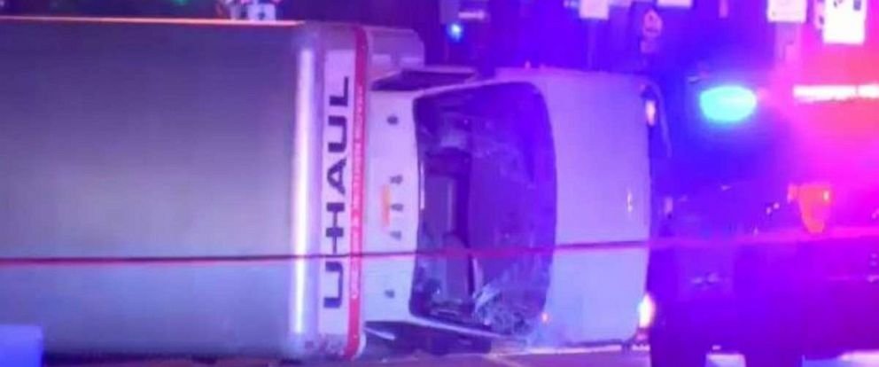 The U-Haul truck driven by the suspect flipped over in downtown Edmonton early Sunday morning.