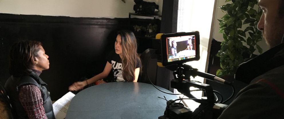 PHOTO: ABC News Deborah Roberts interviews Shelly Chartier.