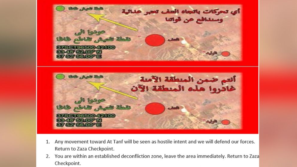 """The U.S. dropped 90,000 leaflets on pro-regime forces inside a deconfliction zone around At Tanf, Syria in late May, asking them to """"leave the area immediately."""" The leaflet, given to ABC News by the Department of Defense, provides an English translation."""