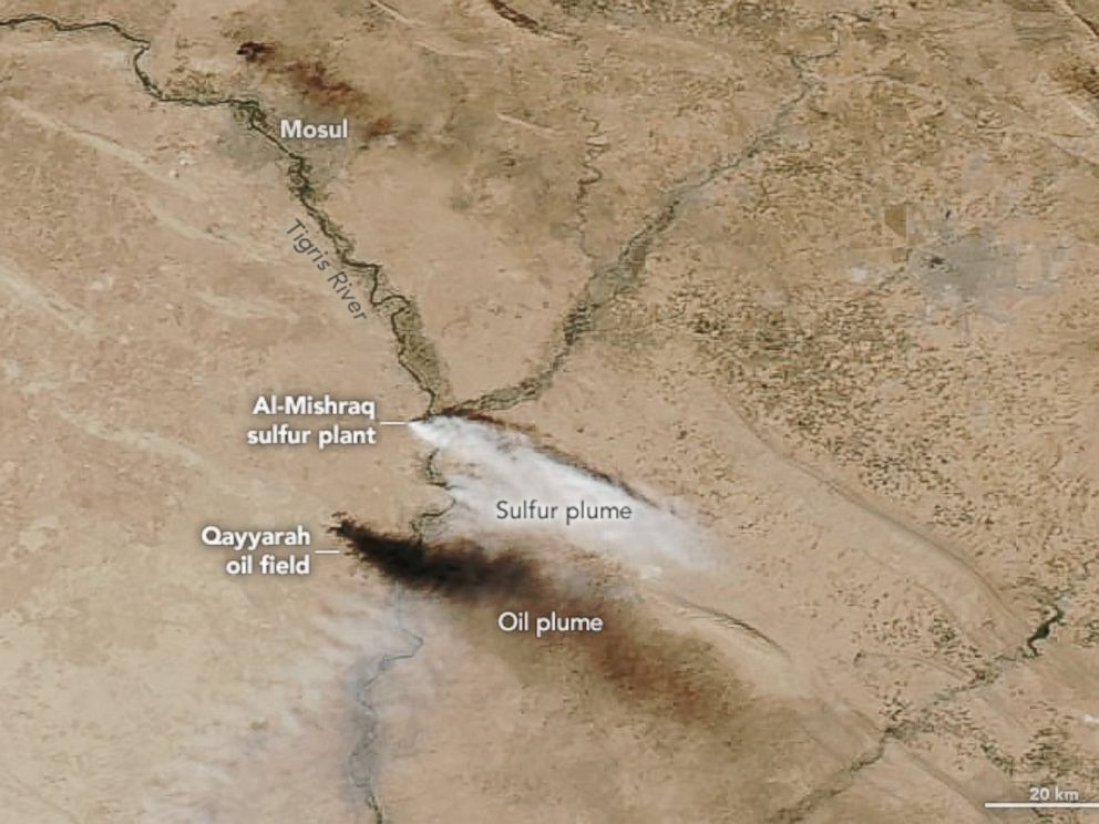 PHOTO: This satellite image from October 22, 2016 shows the sulfur and oil plumes spreading outside of Mosul. ISIS is reported to have set fire to oil fields and sulfur plants to provide cover during the October battle by Iraqi forces to retake Mosul.