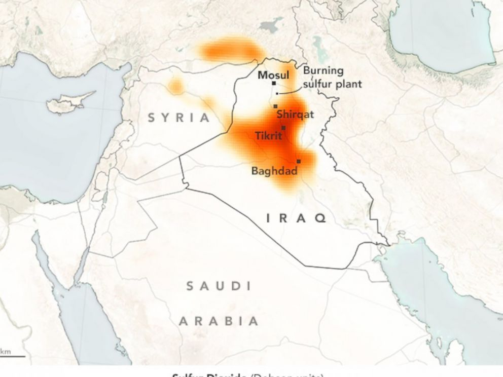 This map from Oct. 24, 2016, shows how sulfur dioxide, burning from a plant near Mosul, is spreading across Iraq. ISIS is reported to have set fire to oil fields and sulfur plants to provide cover during the October battle by Iraqi forces to retake Mosul.