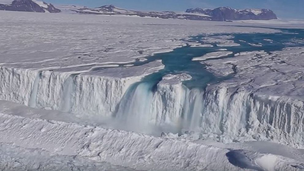 Earth Institute posted video taken by Wong Sang Lee/Korea Polar Research Institute, April 18, 2017, showing a 400-foot-wide waterfall draining off the Nansen Ice Shelf into the ocean.