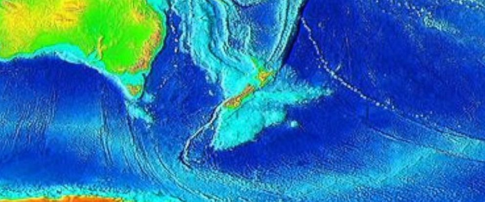 PHOTO: The topography of Zealandia is seen here in this land elevation map created by the World Data Center for Geophysics and Marine Geology.